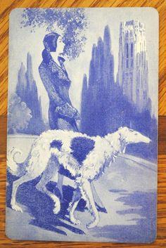 ART DECO SWAP PLAYING CARD - Lady Walking Borzoi Dog