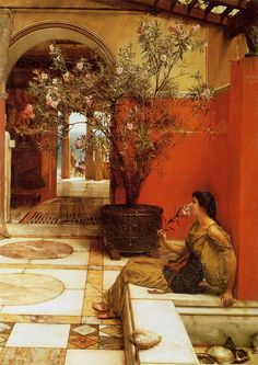 View An oleander by Sir Lawrence Alma-Tadema on artnet. Browse upcoming and past auction lots by Sir Lawrence Alma-Tadema. Lawrence Alma Tadema, Pre Raphaelite Paintings, Rome Antique, Art Ancien, Academic Art, Dutch Painters, Victorian Art, Victorian Paintings, Classical Art