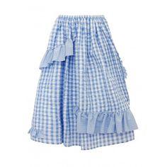 frill volume skirt ❤ liked on Polyvore featuring skirts, frilled skirt, flouncy skirt, blue skirt, frill skirt and frilly skirt