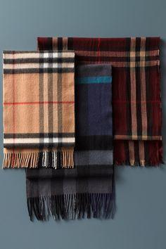 Winter essential | Burberry check cashmere scarf.