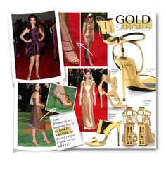 """""""#Gold Sandals - Anne Hathaway's Style"""" by nikkisg ❤ liked on Polyvore featuring Charlotte Olympia, Giuseppe Zanotti, Tom Ford and goldsandals"""