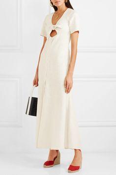STAUD | Maya tie-front linen-blend maxi dress | NET-A-PORTER.COM