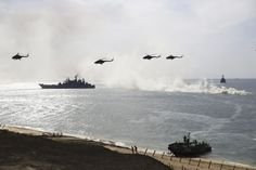 Show of strength: Russian ships and helicopters take part in military drills on the Black Sea coast on Friday. Russian Bombers, Black Sea, Eastern Europe, World War Two, Bald Eagle, Fighter Jets, Coast, Military, History