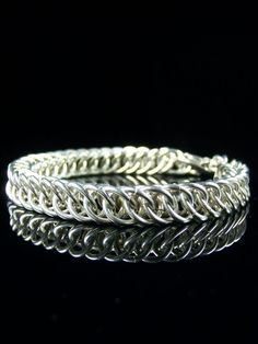 Mens Sterling Silver Bracelet - Chainmaille - Half Persian 4 in 1 - Heavy Chunky Chain- Rocker Chic - Solid Silver - Bold Statement Jewelry