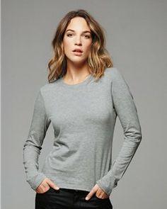 Bella- Women's Fashion- Long Sleeve T-Shirt- Light 100% Cotton -6500