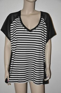 Sexy black & white Striped Sheer Back Studded 3X plus Tunic Top Glam V-Neck top #FG #Blouse #Clubwear