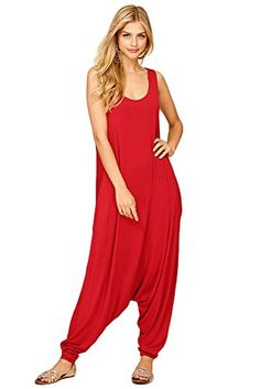 b76d78076614 Annabelle Women s Comfy Rayon Solid Color Sleeveless Harem Jumpsuits
