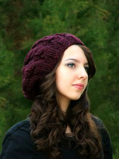 Knit Cable Hat Knitting Pattern Knit Slouch Hat by CreatiKnit