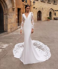 Discover our Pronovias Wedding Dress Collection. View our amazing selection of unique bridal dresses and gowns featuring the latest trends. Crochet Wedding Dresses, Long Wedding Dresses, Long Sleeve Wedding, Wedding Dress Sleeves, Bridal Dresses, Simple Wedding Dress With Sleeves, Simple Elegant Wedding Dress, Lace Sleeves, Sparkly Bridesmaid Dress