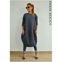 Grey Loose Tunic Maxi Unique Dress Oversize Loose Tunic Dress... (155 BGN) via Polyvore featuring tops, tunics, red, women's clothing, womens plus size tunics, plus size maxi tops, loose tunic, grey top and loose fitting tops
