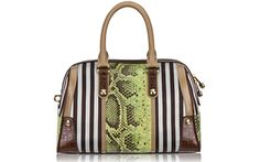 No words: Brown and White Colorblock Barrel by Henri Bendel