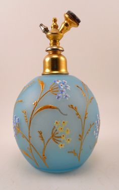 Hand Painted PRE 1920'S Robin EGG Blue Frosted Glass Atomizer Perfume Bottle | eBay
