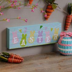Pastel Easter Bunnies Wood Plank Plaque | Kirklands
