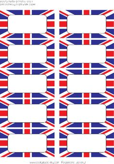 Union Jack labels that can be used for a London Olympics party. London Theme Parties, British Themed Parties, Royal Tea Parties, London Party, English Day, English Class, English Lessons, Teaching English, British Party
