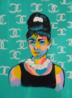 Fashion's best coupling: Audrey and Chanel. Acrylic on cold press paper. Bradley Theodore.
