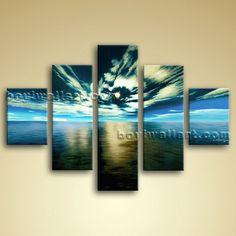Huge High Revolution Ocean Beach Seascape Painting Print Canvas Wall Art Framed