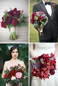 Wedding flowers, floral bouquets, Pantone color of the year, Marsala | AnnaBelle Events
