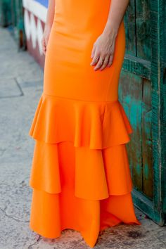 How To Wear Orange: Monochromatic Ruffle Gown Long Pleated Maxi Skirt, High Waisted Skirt, Scarf Dress, Skirt Outfits, African Fashion, Gowns, Clothes For Women, Womens Fashion, Spring Jackets