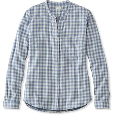 L.L.Bean Double-Cloth Shirt, Gingham ($45) ❤ liked on Polyvore featuring tops, collared shirt, gingham shirt, long-sleeve shirt, blue shirt and blue collar shirt