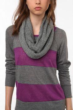 Stripe on stripe is nice, but I really just love that scarf.  With a red dress for gameday?