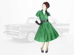 50s New Look Fit and Flare Dress, Large to Plus Size Vintage Reproduction Green Shirtwaist Look, Mid Century Retro Style Dress 50s Rockabilly, Rockabilly Fashion, Retro Fashion, High Fashion, Vintage Fashion, 50s Dresses, Fashion Dresses, Plus Size Vintage, Flare Dress
