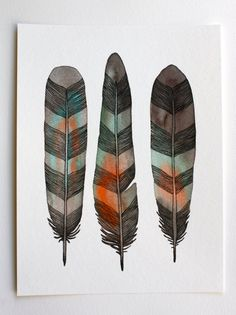Watercolor Feather Painting - Modern Art - Archival Print - 8x10 Chevron Feathers sur Etsy, $21.19 CAD