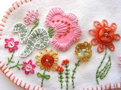 Embroidered Flowers w/buttons