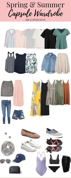 My Minimalist Spring & Summer Capsule Wardrobe Spring and summer are quickly approaching. Build your best spring and summer capsule wardrobe with these quick tips and resources. Capsule Wardrobe Mom, Capsule Outfits, Fashion Capsule, Summer Wardrobe, Wardrobe Ideas, Mom Wardrobe, Travel Outfits, Travel Clothes Summer, Capsule Clothing