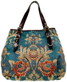 Lilly: Paprika Tapestry on Turquoise Chenille My Bags, Purses And Bags, Ethno Style, Carpet Bag, Tapestry Bag, Boho Bags, Fabric Bags, Vintage Bags, Handmade Bags