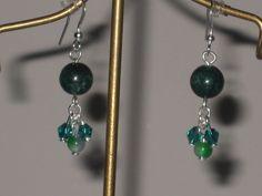 green marble with crystal dangle drop earrings handmade #Handmade #DropDangle