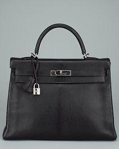 2ef93cc6183b My dream bag  Hermes Black Chevre Leather Retourne Kelly 35cm done in black chevre  leather