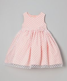 Another great find on #zulily! Coral Polka Dot Overlay Dress - Girls #zulilyfinds