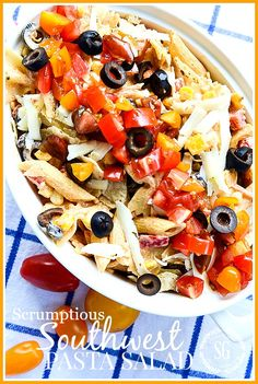 Make a scrumptious Southwest Pasta Salad for you next get together or al fresco dinner! Easy and a real favorite! This is a MUST TRY recipe! Summertime Salads, Summer Salads, Salad Recipes, Snack Recipes, Cooking Recipes, Easter Recipes, Healthy Recipes, Homemade Chicken Salads, Pasta Salat