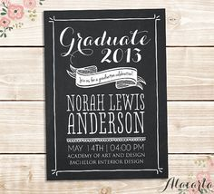 Chalkboard GRADUATION Announcement Invitation Card - DIY Custom Printable