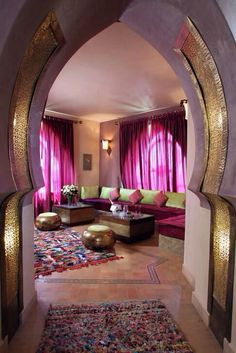 Moroccan: Beautiful entryway into a Moroccan inspired living… - Bohemian Home Living Room Moroccan Decor Living Room, Moroccan Room, Indian Living Rooms, Moroccan Interiors, Home And Living, Moroccan Design, Moroccan Style, Style At Home, Deco Time