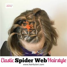 Come learn how to do this easy elastic spider web hairstyle! This is perfect for short hair & long hair for Halloween. Great for crazy hair day too!