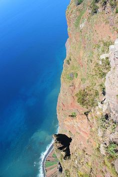 Cabo Girão is a sea cliff in Madeira. It is almost 600 metres high! You can see small fields and beaches below from the top Copyright: Petr Daubner