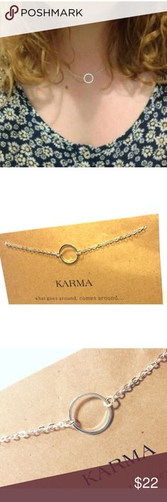 """Dogeared """"Karma"""" Necklace NWOT Adorable silver dainty silver plated necklace made of zinc alloy. Includes quote card. Perfect layering inspired necklace. Handmade in the USA. Length is 15 3/4"""" and extends up to 19"""" Dogeared Jewelry Necklaces"""