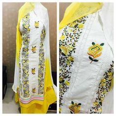 Cotton top kashmiri work with lace Cotton bottom Chiffon shaded Dupatta
