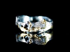 Examples of a custom blue and a gray raw diamond that are each shown in Destroyed settings of 18K gold and oxidized silver. The images show examples of both colors. The natural approx. 1 carat diamond Engagement Ring For Him, Raw Diamond Engagement Rings, Raw Diamond Rings, Diamond Gemstone, Cool Wedding Rings, Wedding Bands, Jewelry Sites, Jewelry Box, Uncut Diamond