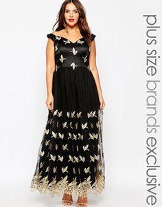 Chi Chi London Plus Bardot Embroidered Maxi Dress