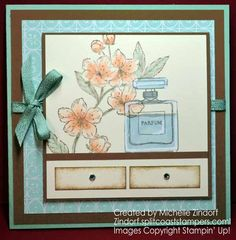 Hand stamped Forever Blossoms Perfume – Stampin' Up! Card created by Michelle Zindorf - Forever Blossom and Dressed to Impress Blossom Perfume, Owl Punch, Customer Appreciation, Chalk Markers, Blank Cards, Soft Colors, Stampin Up Cards, Fun Projects, Hand Stamped