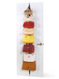 Bolsas atrás da porta do quarto. Talvez nem precisem ficar atrás da porta, podem ficar acima do cesto de roupa suja. Purse Rack, Handbag Storage, Handbag Organization, Closet Organization, Purse Holder, Bag Rack, Door Storage, Closet Storage, Hat Storage