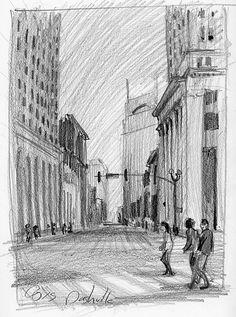"""Nashville Street Scene"" - pencil on strathmore paper, in Drawings"