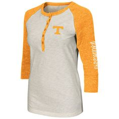 Tennessee Volunteers Colosseum Women's Chevelle Henley Three-Quarter Length T-Shirt - Cream