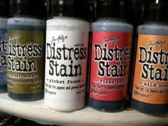 Craft Product Review: Tim Holtz Distress Stains by Ranger - | Craft Test Dummies...great examples of how the stains work on different types of paper and surfaces...also GREAT tutorial on how to use picket fence!!!