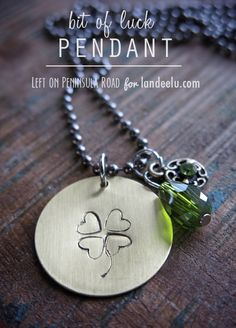 St. Patrick's Day Hand Stamped Pendant. Cute lucky jewelry!