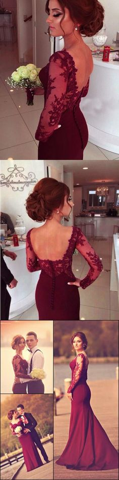 A-Line Sweetheart Long Sleeve Burgundy Prom Dress With Lace Appliques JS98, This dress could be custom made, there are no extra cost to do custom size and color Affordable Prom Dresses, Formal Dresses, Wedding Dresses, Make Your Own Dress, Red Lace, Lace Applique, Special Occasion Dresses, Appliques
