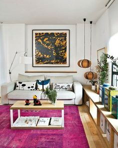 Warm Living Room Decorating Ideas With Wall Art And Corner Pendant inside Living Room Corner Decoration Ideas - homeanddeco. Room Rugs, Rugs In Living Room, Living Room Decor, Appartement Design, Living Room Lighting, Living Room Inspiration, Family Room, Decoration, Home Decor
