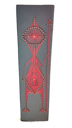 Warrior String Art Vintage 1972 Wall Decor Red String Covered Black Back Ground